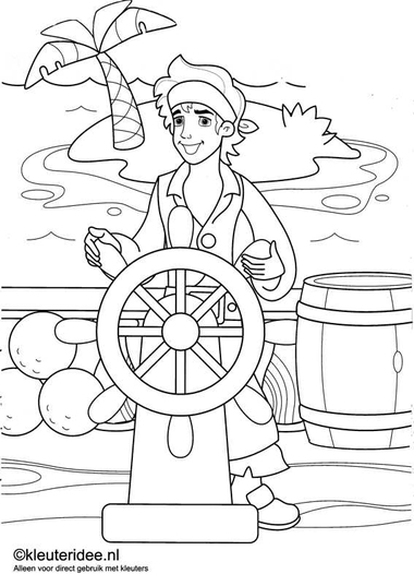 kleurplaat piraten 4, kleuteridee.nl , op de site nog veel meer piratenkleurplaten, pirates coloring free printable.