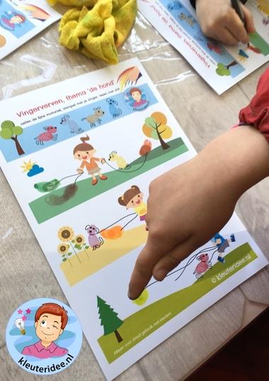 Honden maken met vingerverf, thema de hond, kleuteridee, Kindergarten dog theme, free printable