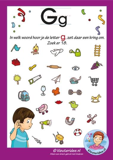 Pakket over de letter g blad 8, in welk woord hoor je een g, letters aanbieden aan kleuters, kleuteridee, free printable.