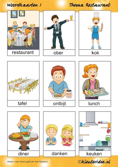 Woordkaarten 1 voor kleuters, thema restaurant, juf Petra van kleuteridee.nl, free printable.