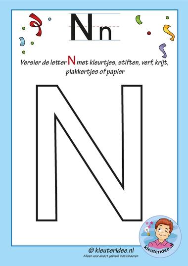 Pakket over de letter N blad 6, versier de hoofdletter N, kleuteridee, free printable