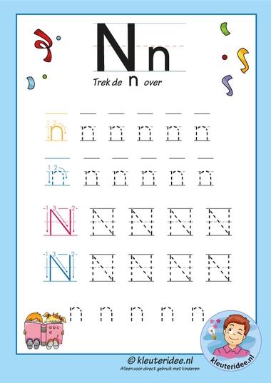 Pakket over de letter n blad 8, trek de n over, kleuteridee, free printable