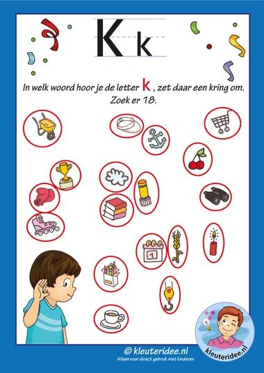 Pakket over de letter k blad 8, waar hoor je een k, antwoorden, letters aanbieden aan kleuters, kleuteridee, free printable.