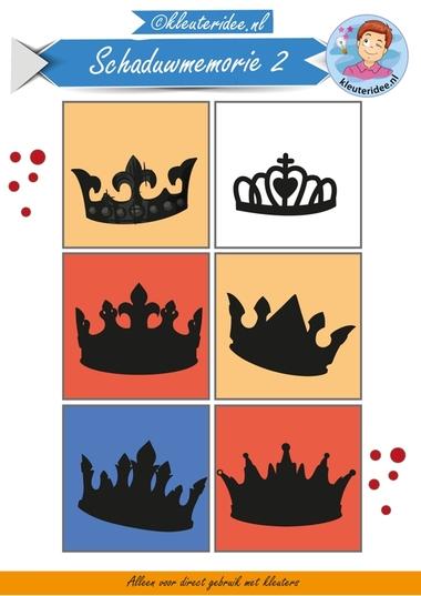 Schaduwmemorie bij thema koningsdag 2, kleuteridee.nl, Crownmemory free printable.