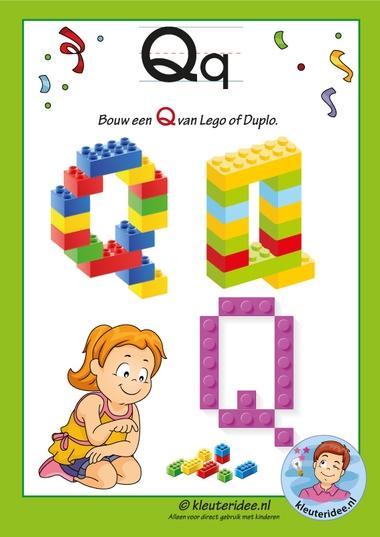 Pakket over de letter Q blad 16, maak een Q van lego of duplo, kleuteridee, free printable