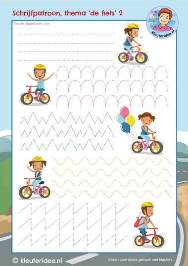 schrijfpatroon, thema de fiets, kleuters, kleuteridee, writing pattern kindergarten bike theme, free printable 2