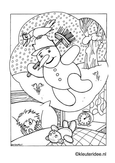 Kleurplaat dromen over sneeuwpop, kleuteridee.nl , snowman dreams preschool coloring.