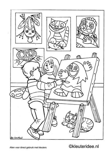 Kleurplaat thema kunst 1, kleuteridee.nl .