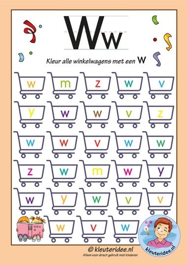 Pakket over de letterw, blad 6, kleur alle winkelwagens met een w, letters aanbieden aan kleuters, kleuteridee, free printable k