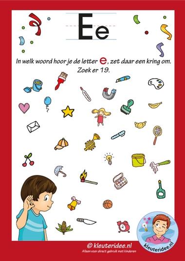 Pakket over de letter e blad 8, in welk woord hoor je een e, letters aanbieden aan kleuters, kleuteridee, free printable.