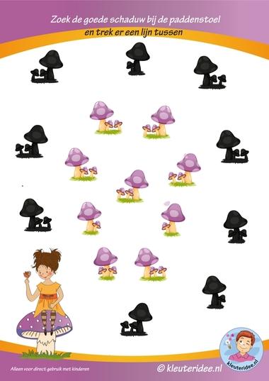 Herfst, zoek de goede schaduw bij de paddenstoelen, kleuteridee.nl, free printable.