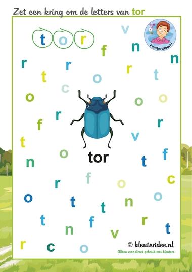 Zet een kring om de letters van tor, thema insecten voor kleuters, kleuteridee.nl, free printable.
