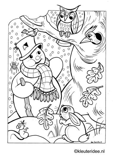 Kleurplaat sneeuwpop,bos , kleuteridee.nl , winter snowman preschool coloring.