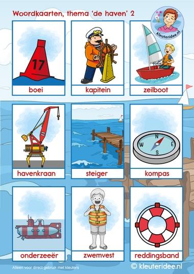 woordkaarten thema de haven 2, kleuteridee