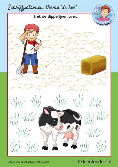 Schrijfpatroon koe, kleuteridee, kleuters, writing pattern cow theme Kindergarten 2.