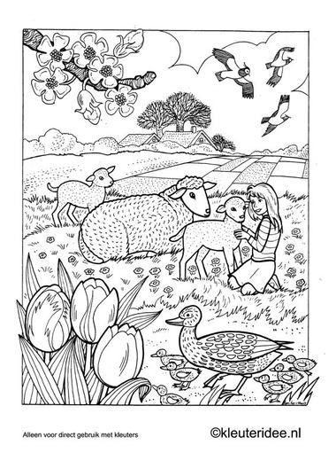 Kleurplaat lente 3, kleuteridee.nl , spring preschool coloring.