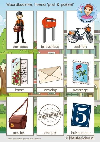 woordkaarten 1, thema post & pakket, kleuteridee, free printable