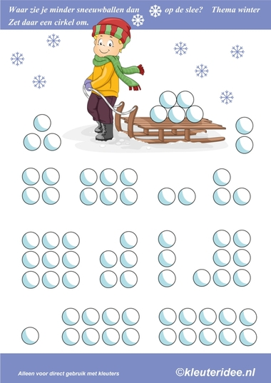 Waar zie je minder sneeuwballen dan op de slee, thema winter, kleuteridee.nl , where you see less than snowballs on the sled, free printable.