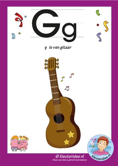 Pakket over de letter g blad 2, letterkaart, kleuteridee, letters aanbieden aan kleuters,free printable.