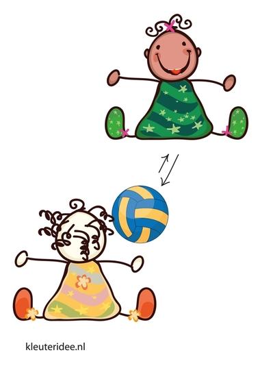 Bewegingskaart bal voor kleuters, zitten en de bal overrollen, kleuteridee.nl, free printable moving cards for preschool.