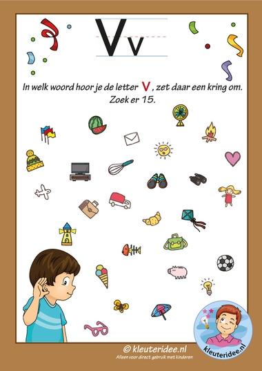 Pakket over de letter v blad 8, in welk woord hoor je een v, letters aanbieden aan kleuters, kleuteridee, free printable