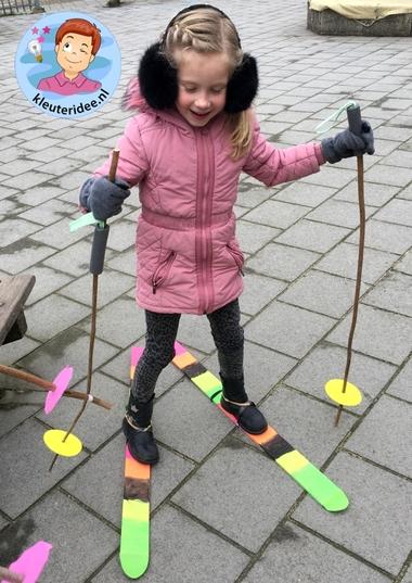 Ski knutselen met kleuters 3, kindergarten mountains theme, kleuteridee