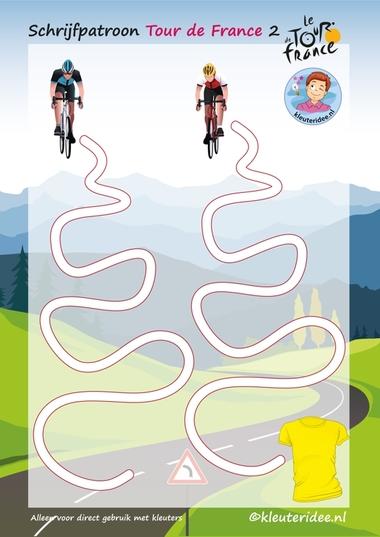Schrijfpatroon, Tour de France 2, voor kleuters, kleuteridee.nl, Writing pattern free printable.