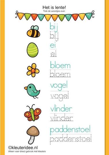 Het is lente, trek de woordjes over, kleuteridee.nl , thema lente, free printable.