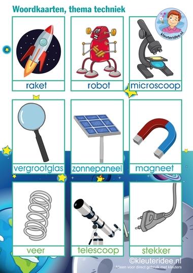 Woordkaarten 'Raar maar waar', thema techniek voor kleuters, kleuteridee.nl, free printable.