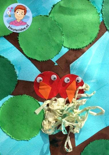 collage lente knutselen met kleuters, Spring theme craft kindergarten, kleuteridee 4