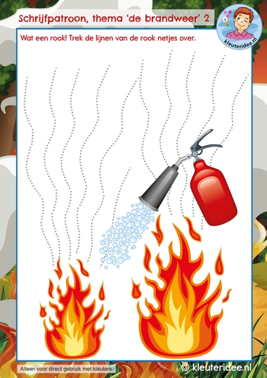 Schrijven thema de brandweer, kindergarten writing pattern firefighters theme, kleuteridee 2