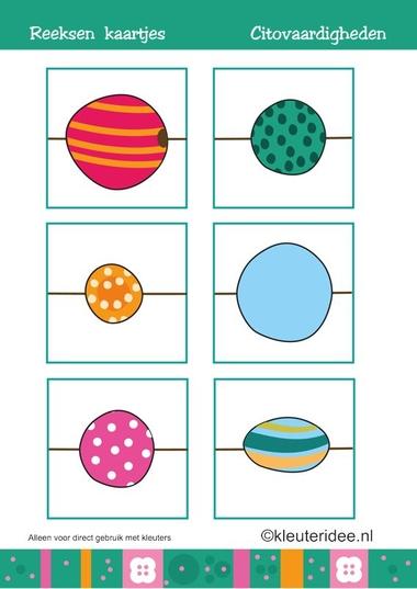 Citovaardigheden voor kleuters, reeksen, kaartjes, kleuteridee.nl , met lessuggesties, series for preschool, cards.