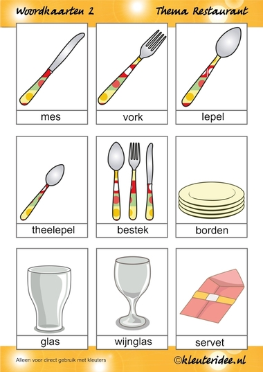 Woordkaarten 2 voor kleuters, thema restaurant, juf Petra van kleuteridee.nl, free printable.