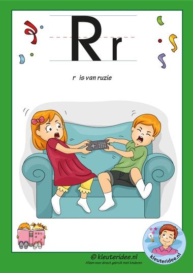 Pakket over de letter r blad 2, letterkaart met een r, kleuteridee, free printable