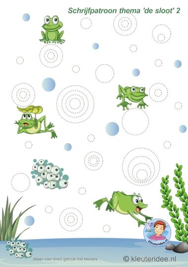 Schrijfpatroon voor kleuters, thema 'de sloot' 2, kleuteridee, preschool pond theme.