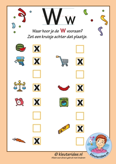 Pakket over de letter w blad 11, Waar hoor je de w vooraan, antwoorden, letters aanbieden aan kleuters, kleuteridee, free printable k