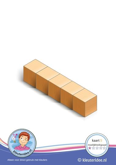 Bouwkaart 5 moeilijkheidsgraad 1 voor kleuters, kleuteridee, Preschool card building blocks with toddlers 5, difficulty 1.