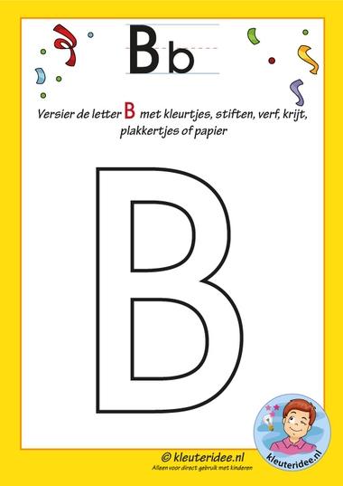 Pakket over de letter B blad 5, versier de letter B, letters aanbieden aan kleuters, kleuteridee.nl, free printable.