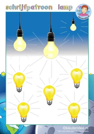 Schrijfpatroon lamp, thema 'Raar maar waar', thema natuur & techniek voor kleuters, kleuteridee.nl, free printable.