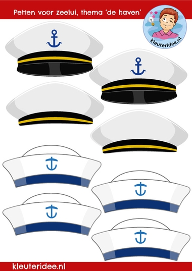 Petten matroos en kapitein, kleuteridee, sailor hats kindergarten craft