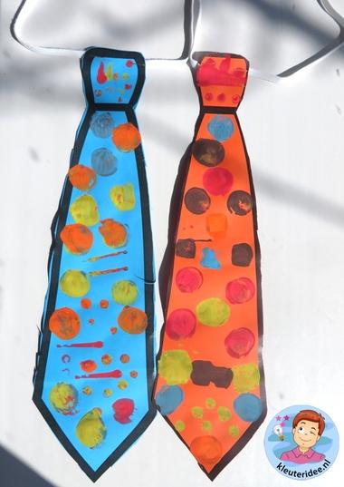 stropdas stempelen, kleuteridee.nl, vaderdag voor kleuters