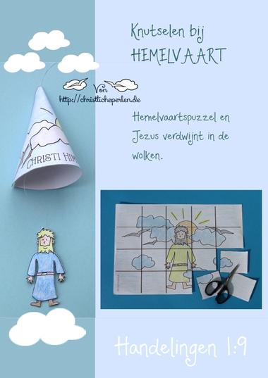 Puzzel en knutselwerkje voor hemelvaart, knutselen bij de Bijbel met kleuters, kleuteridee.nl