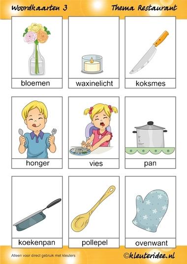 Woordkaarten 3 voor kleuters, thema restaurant, juf Petra van kleuteridee.nl, free printable.