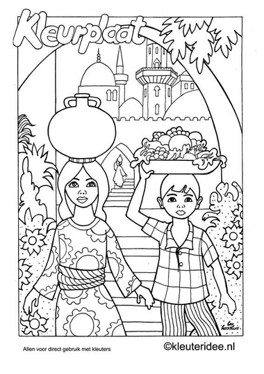 Kleurplaat India, kleuteridee.nl , Indian coloring, free printable
