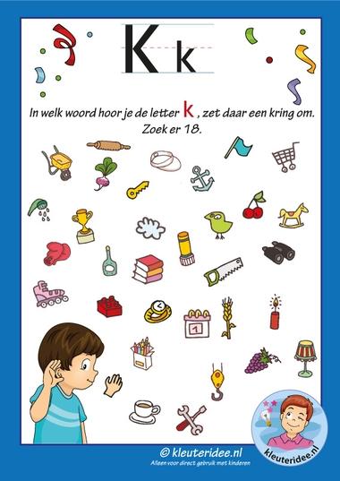 Pakket over de letter k blad 8, waar hoor je een k, letters aanbieden aan kleuters, kleuteridee, free printable.