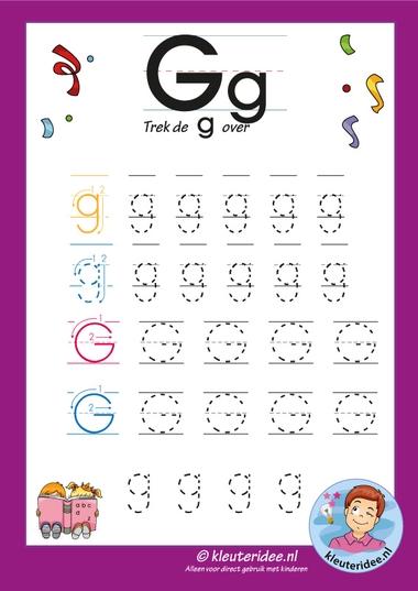 Pakket over de letter g blad 7, trek de letter g over, letters aanbieden aan kleuters, kleuteridee, free printable.