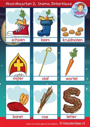 Woordkaarten thema Sinterklaas 2, 5 december, kleuteridee, free printable