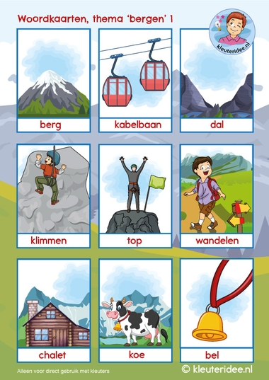 Woordkaarten thema bergen voor kleuters, kleuteridee, kindergarten mountains theme