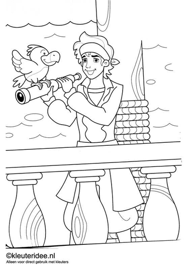kleurplaat piraten 8, kleuteridee.nl , op de site nog veel meer piratenkleurplaten, pirates coloring free printable.