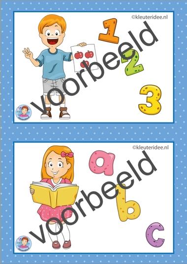 6 Taal en rekenen. 32 dagritmekaarten voor kleuters, juf Petra kleuteridee / Preschool schedule cards